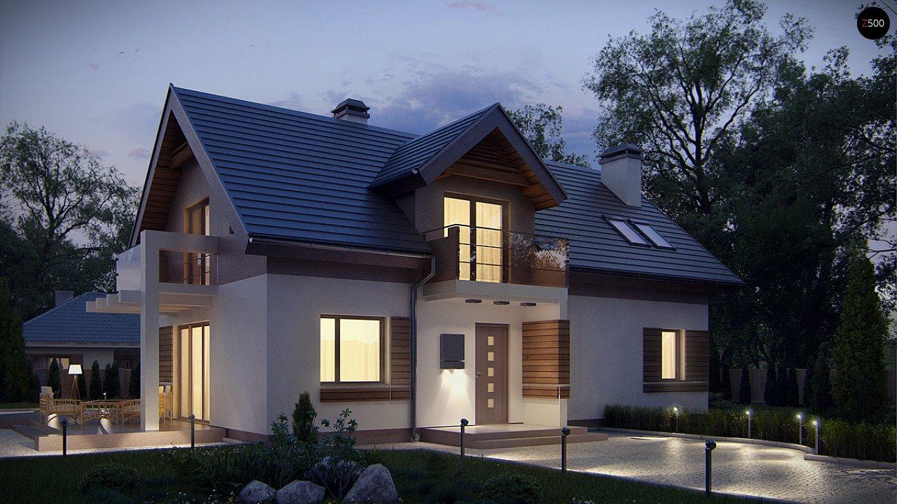 Проект функционального уютного дома с мансардными окнами и оригинальной отделкой фасадов. 4