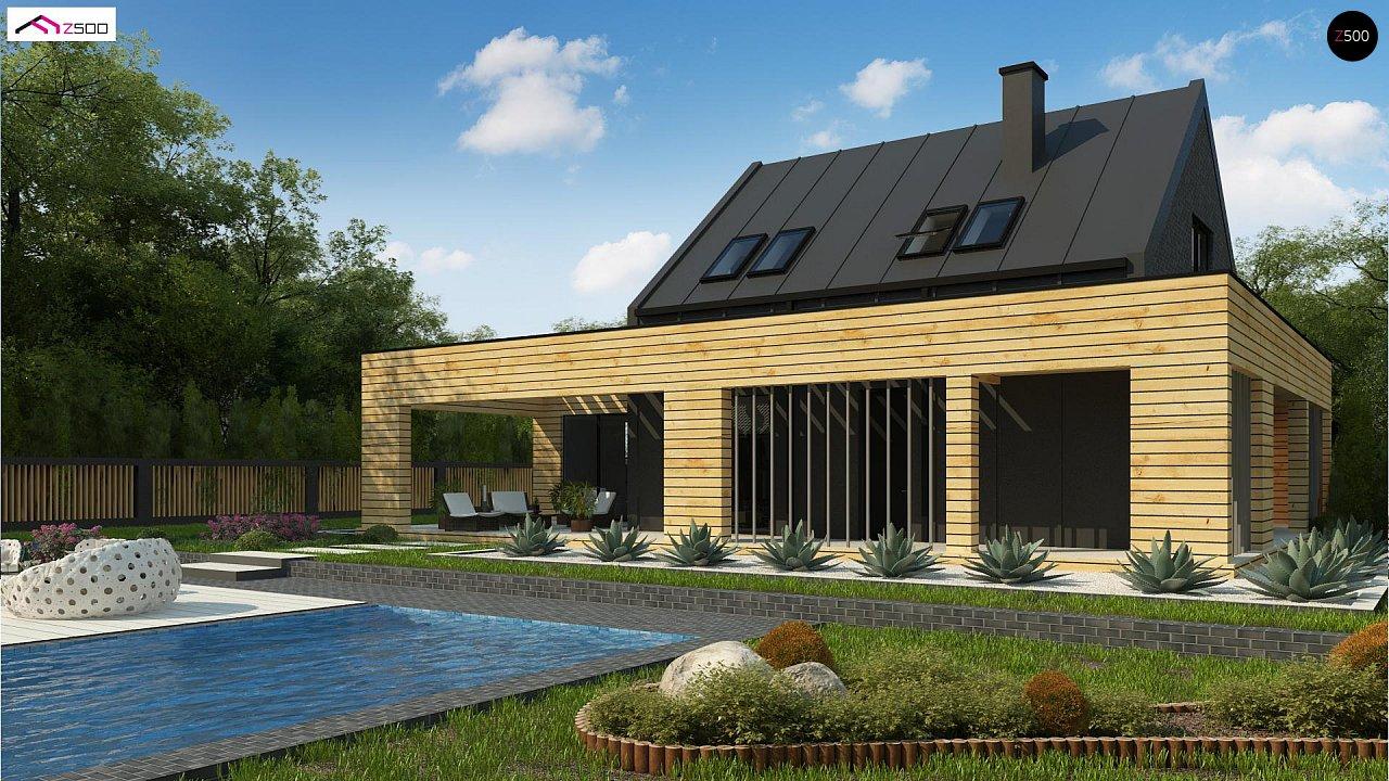 Современный дом с 2-х скатной кровлей, окруженный террасой с плоской крышей. 1