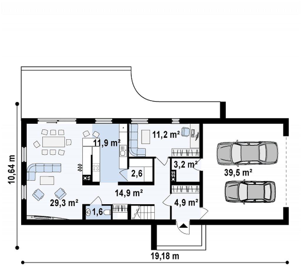 Дом современного простого дизайна. Продольная форма, уютный комфортный интерьер. план помещений 1
