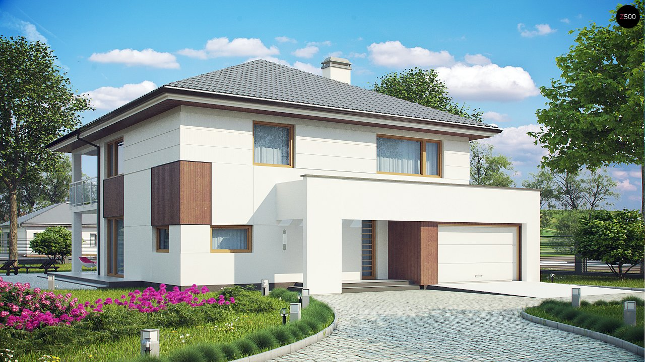 Элегантный комфортабельный двухэтажный дом с современными элементами архитектуры. - фото 1