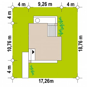 Небольшой современный одноэтажный проект дома с плоской кровлей план помещений 1