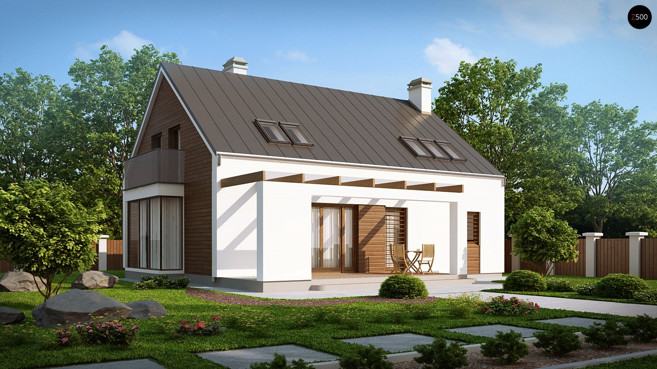 Комфортный дом с гаражом простого аккуратного дизайна. 2