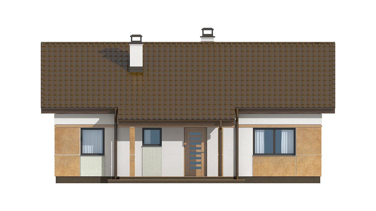 Компактный, уютный одноэтажный дом с двускатной крышей. 15