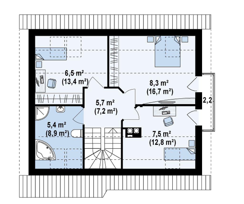 Небольшой дом с дополнительной комнатой на первом этаже, большим хозяйственным помещением и эркером в столовой. план помещений 2