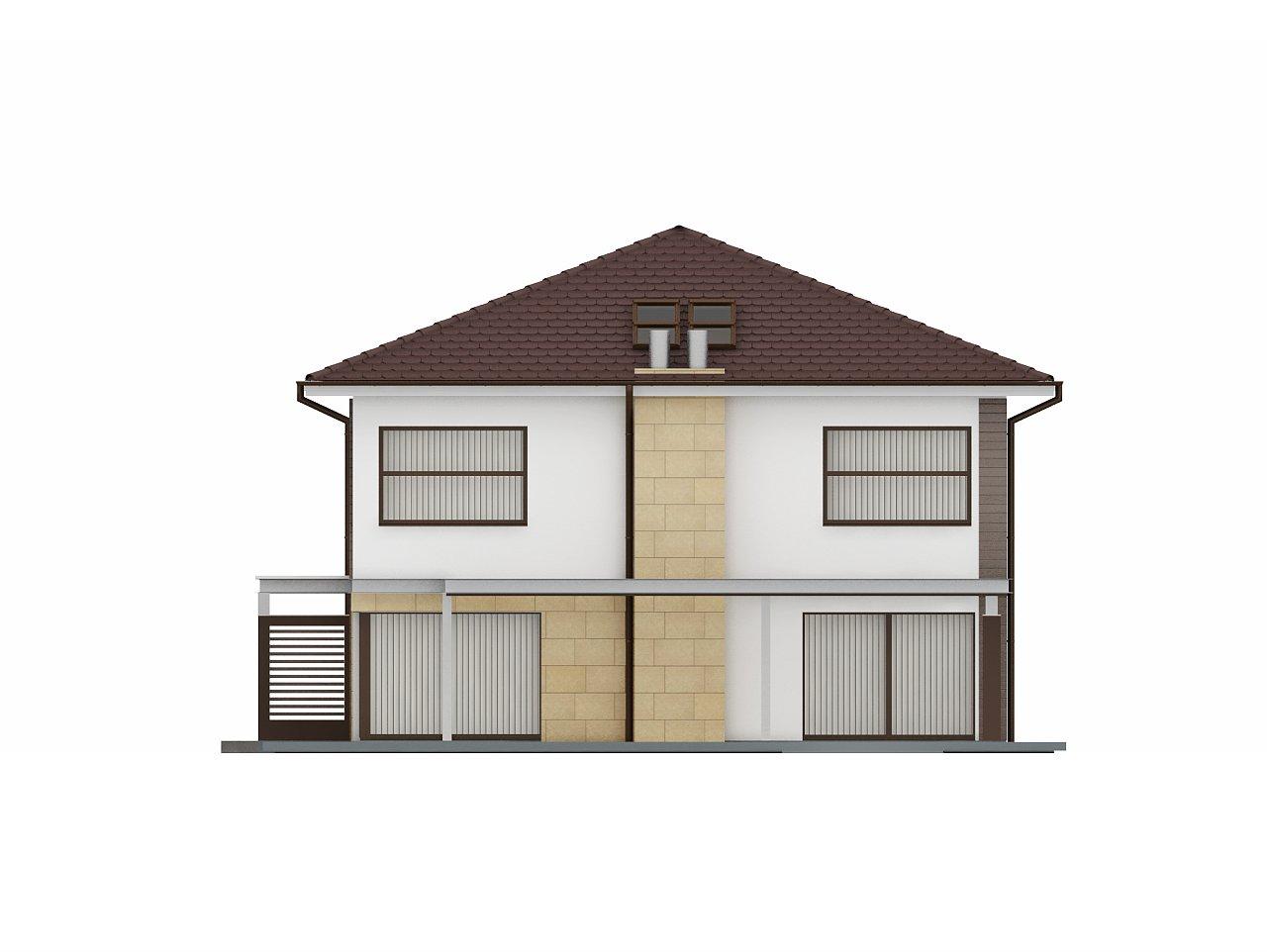 Двухэтажный дом простой формы со вторым светом над гостиной и встроенным гаражом. - фото 6