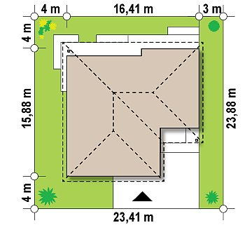 Проект одноэтажного дома с многоскатной крышей и гаражом на одну машину. план помещений 1