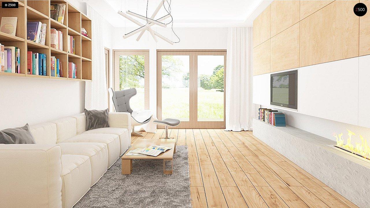 Проект одноэтажного дома с фронтальным выступающим гаражом и возможностью обустройства мансарды. 4