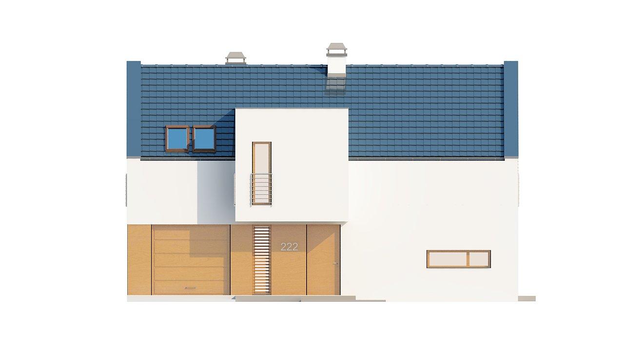 Современный функциональный дом с гаражом, с оригинальным выступом над входом. 21