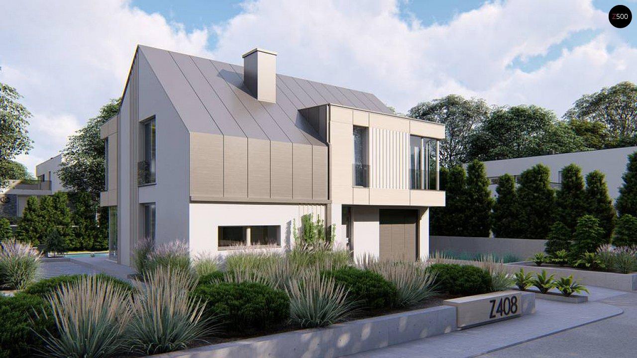 Cовременный проект дома с двускатной крышей и просторными большими мансардными окнами 3