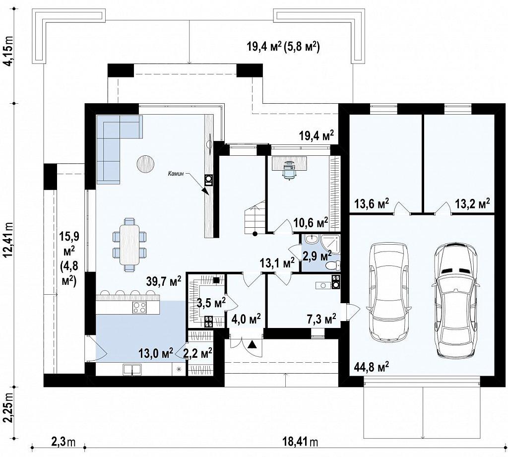Коттедж в современном стиле с гаражом на две машины и террасой на втором этаже план помещений 1