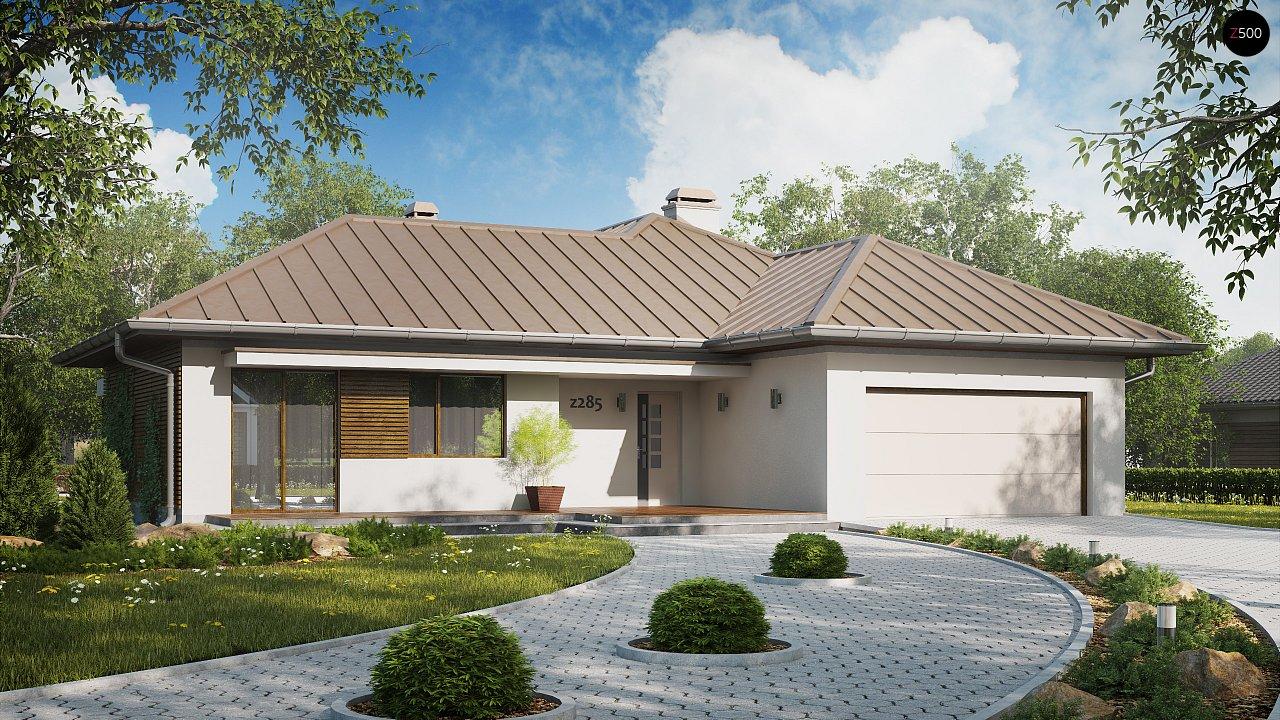 Проект удобного одноэтажного дома с большой угловой террасой. 3