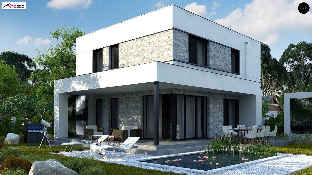 Проект двухэтажного дома с дополнительной комнатой на первом этаже и гаражом на один автомобиль. 3
