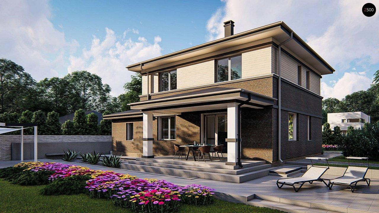 Проект двухэтажного дома на фасаде с клинкерным кирпичом - фото 4