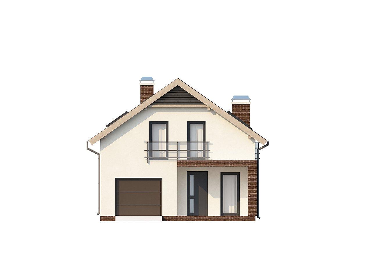 Дом в традиционном стиле с мансардой, со встроенным гаражом, подходящий для узкого участка. 3