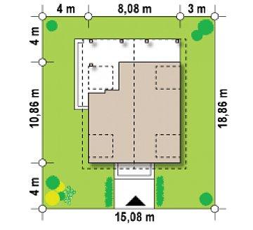 Компактный дом с мансардой, с крытой террасой и внешним камином. план помещений 1