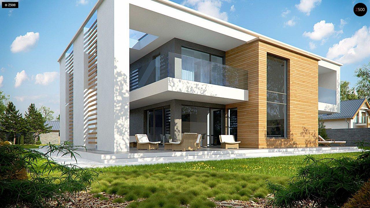 Современный двухэтажный дом с большим остеклением и гаражом на две машины 3