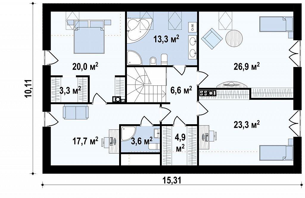Аккуратный современный дом простой формы с оригинальной двускатной крышей. план помещений 2