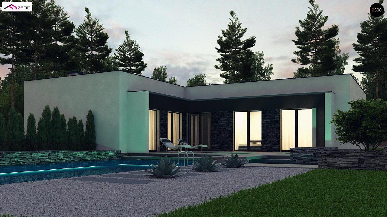 Современный одноэтажный дом с плоской крышей и гаражом на один автомобиль. - фото 1