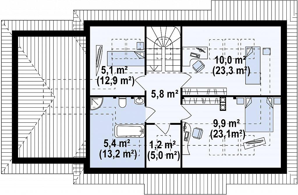 Комфортный дом с кабинетом на первом этаже и угловыми окнами в дневной зоне. план помещений 2