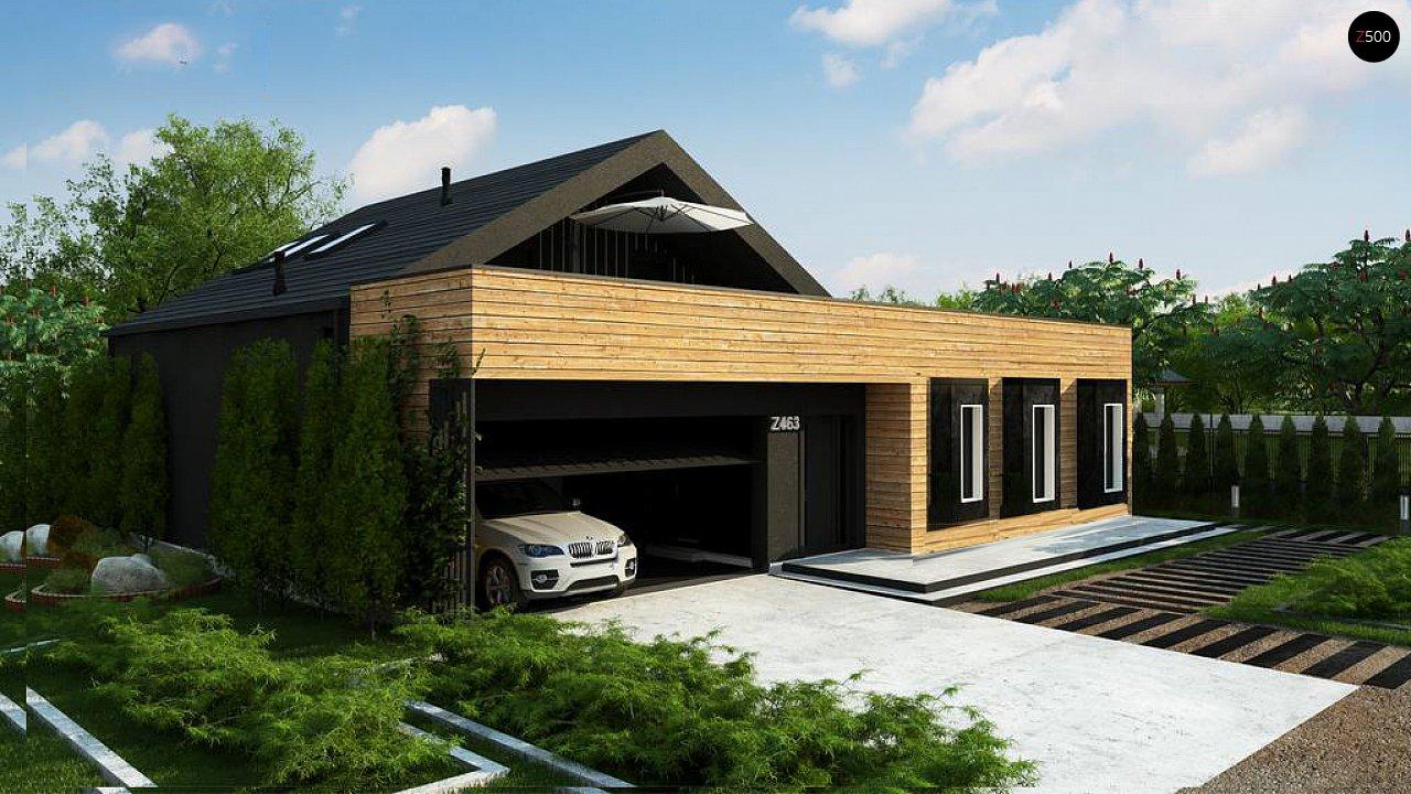 Современный мансардный проект дома с террасой и гаражом на две машины 1