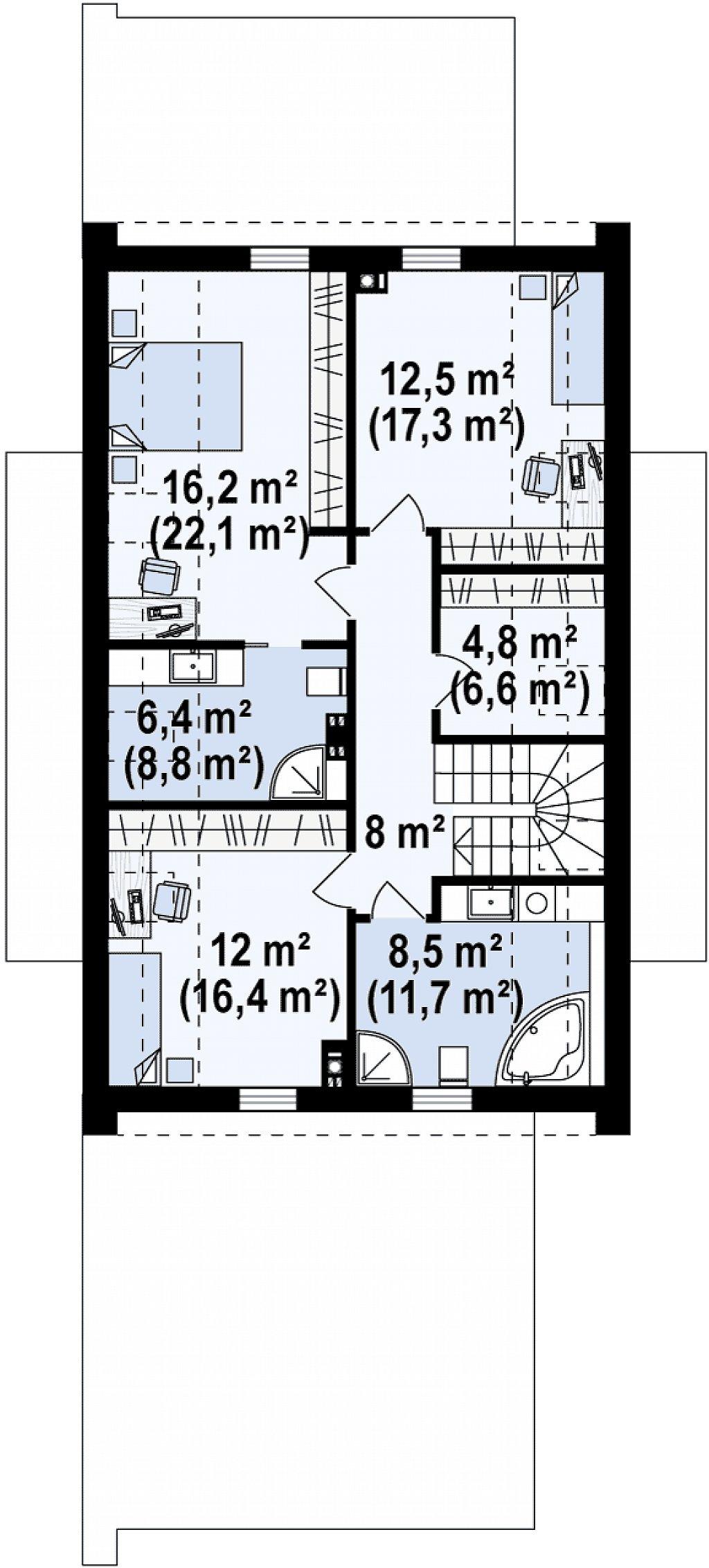 Проект удобного и красивого мансардного дома с гаражом на 2 машини и 3 спальнями. план помещений 2