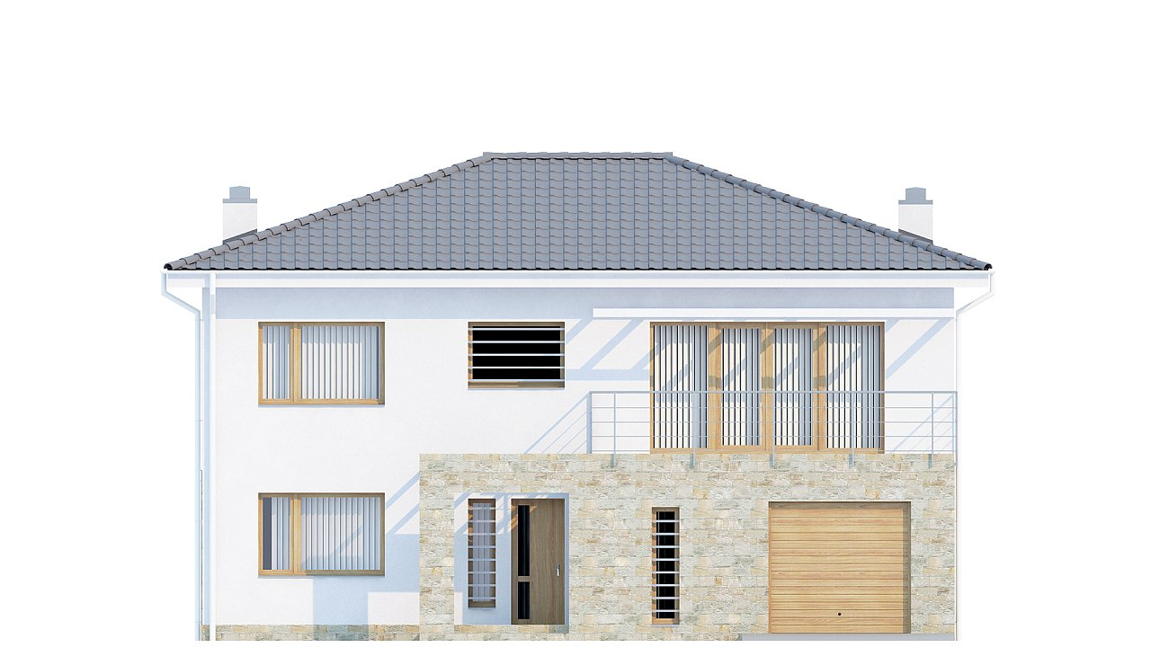 Двухэтажный дом с гаражом для одной машины, с интересным оформлением входной зоны. 3
