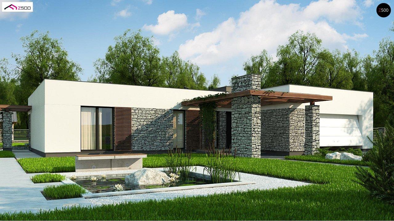 Современный одноэтажный дом с двойным гаражом и плоской крышей 1