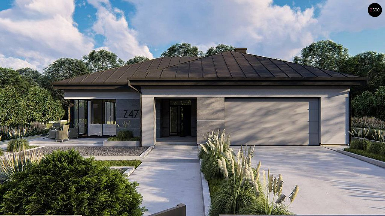Одноэтажный современный проект дома с многоскатной крышей и гаражом на две машины. 4