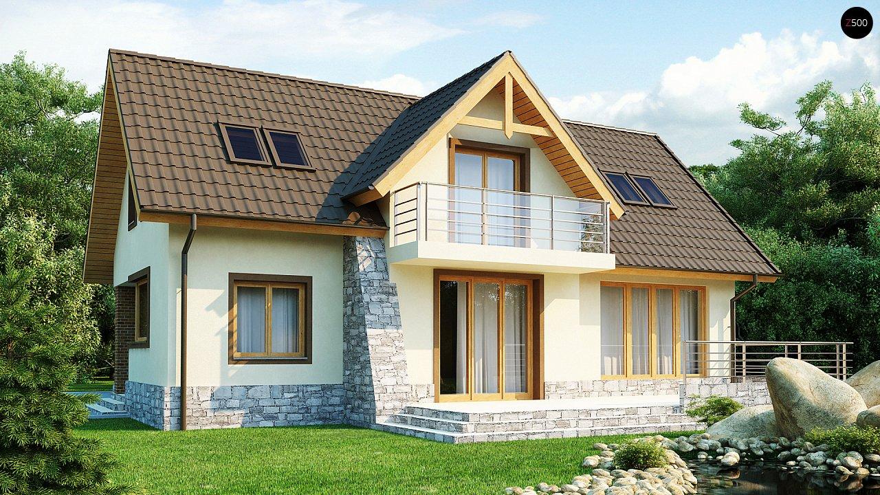Проект традиционного дома с гаражом для двух машин и боковой террасой. 2