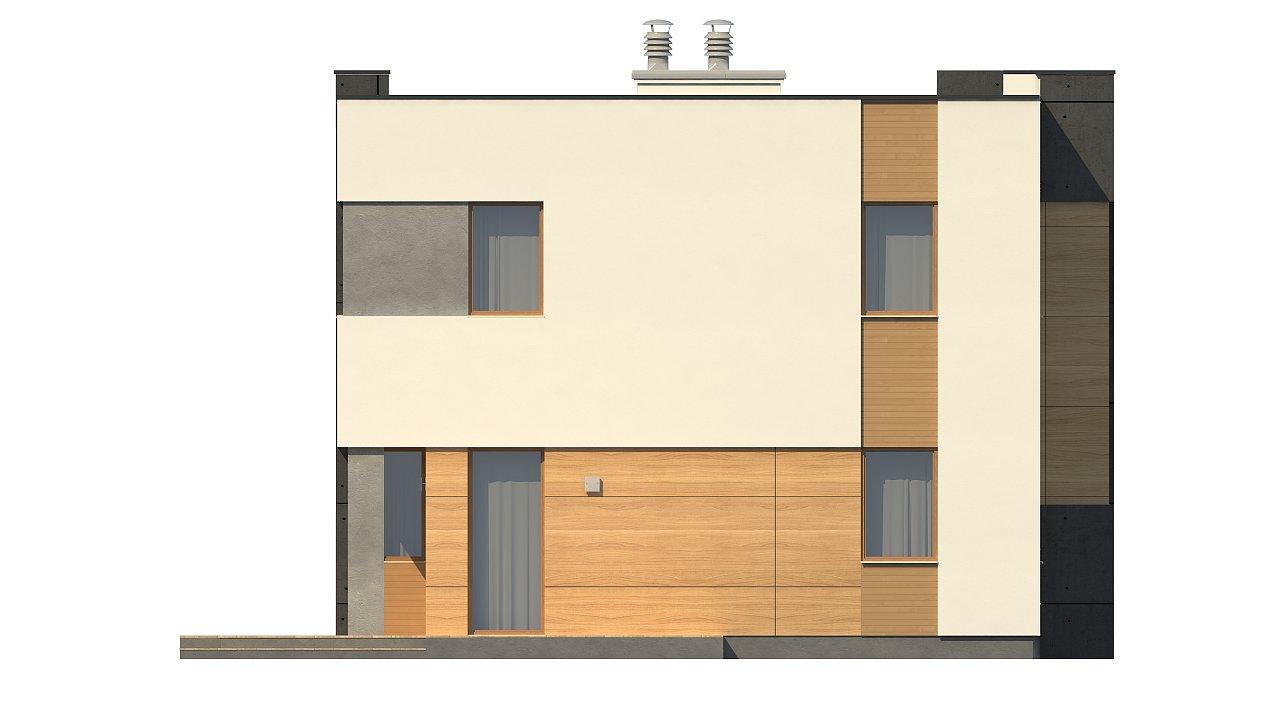 Двухэтажный дом в модернистского дизайна с гаражом и террасой на верхнем этаже. 13