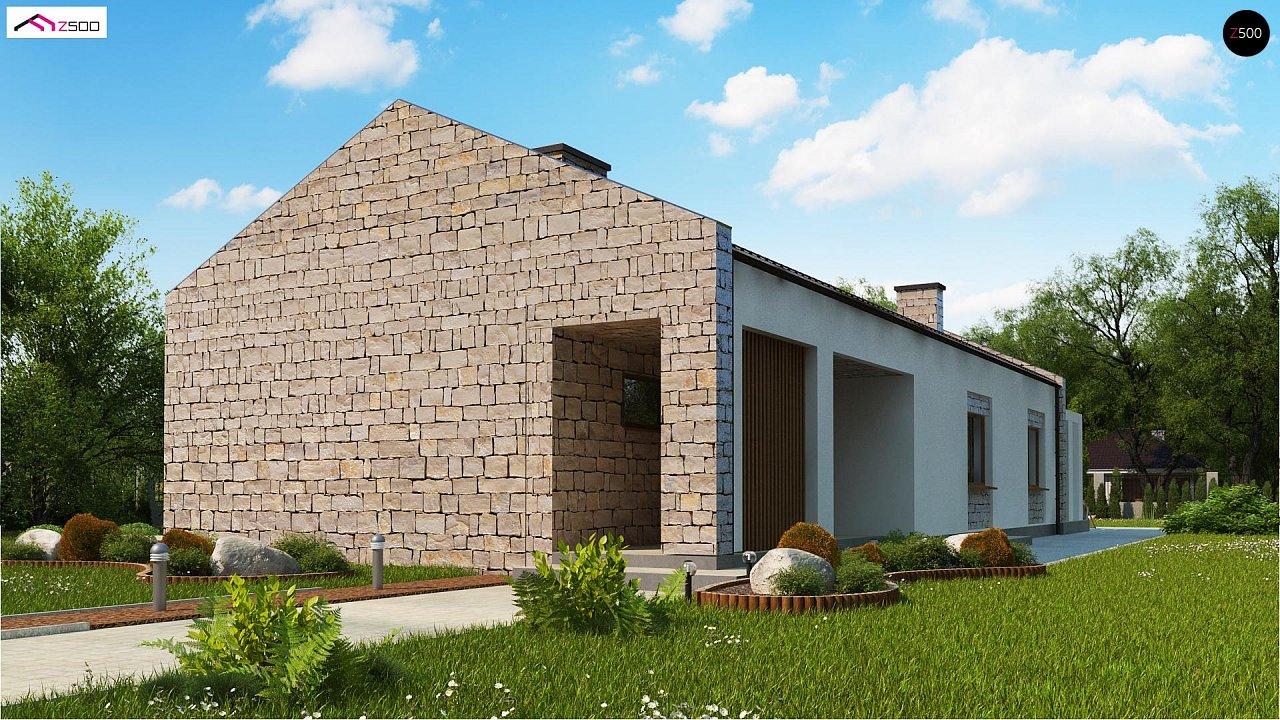 Проект для узкого участка без гаража с тремя спальнями 1