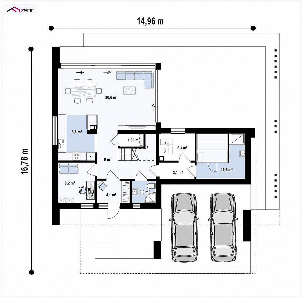 Современный двухэтажный дом с плоской кровлей и навесом для автомобиля план помещений 1