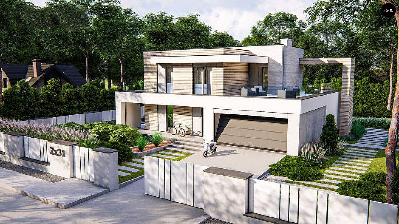 Современный двухэтажный дом с плоской крышей и гаражом на 2 машины. 1