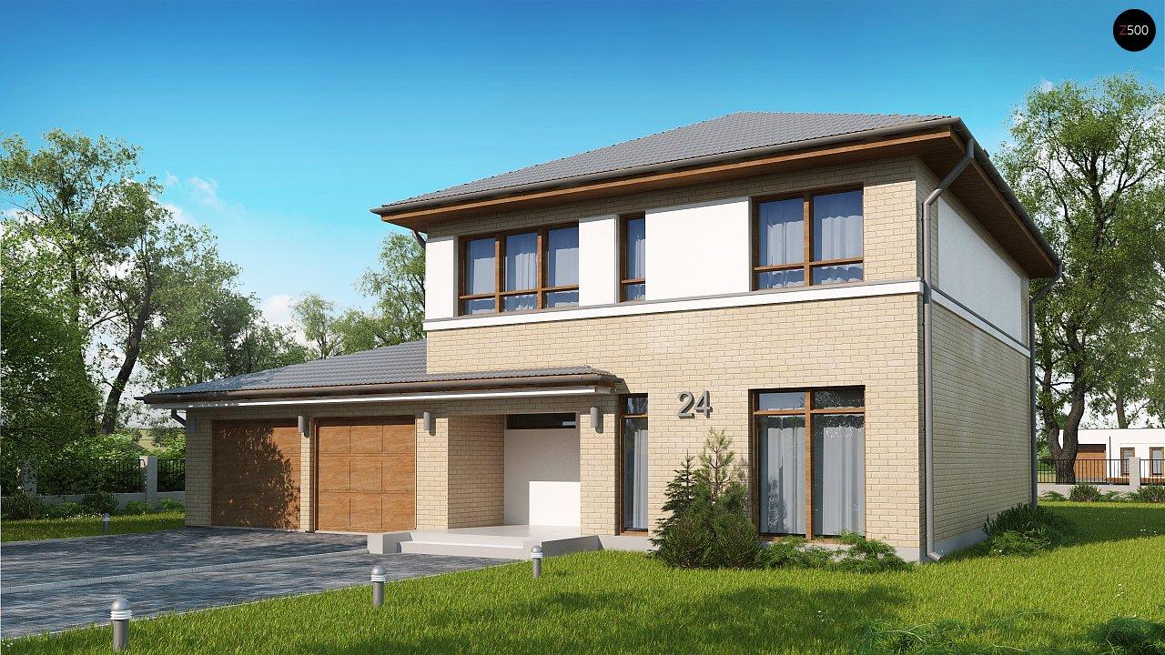 Версия двухэтажного дома Zx24 c увеличенным гаражом для двух машин - фото 1