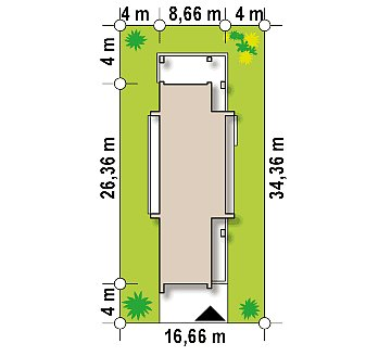 Современный дом с двускатной крышей на узком участке план помещений 1
