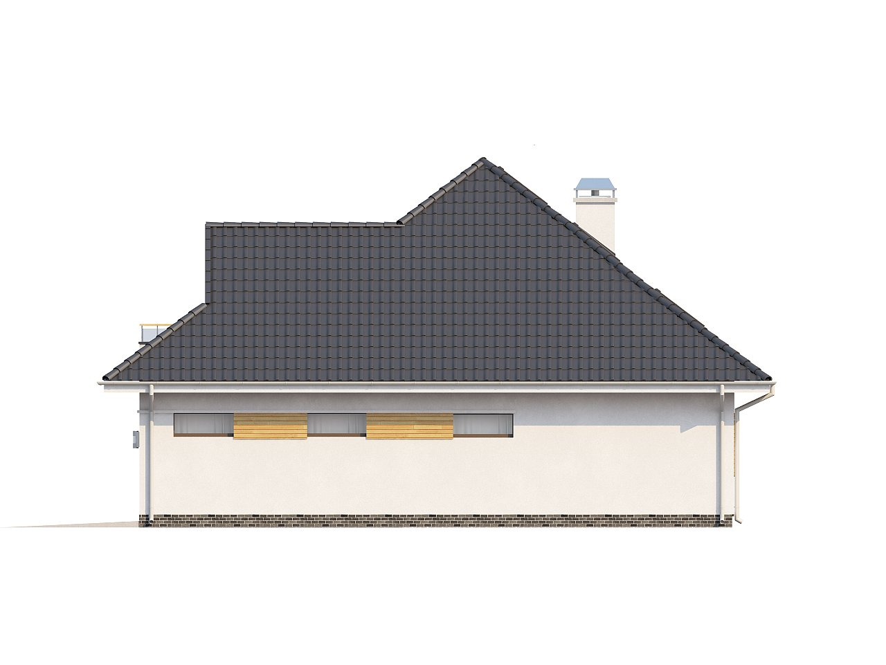 Красивый и функциональный дом с боковой террасой и необычным мансардным окном. 6