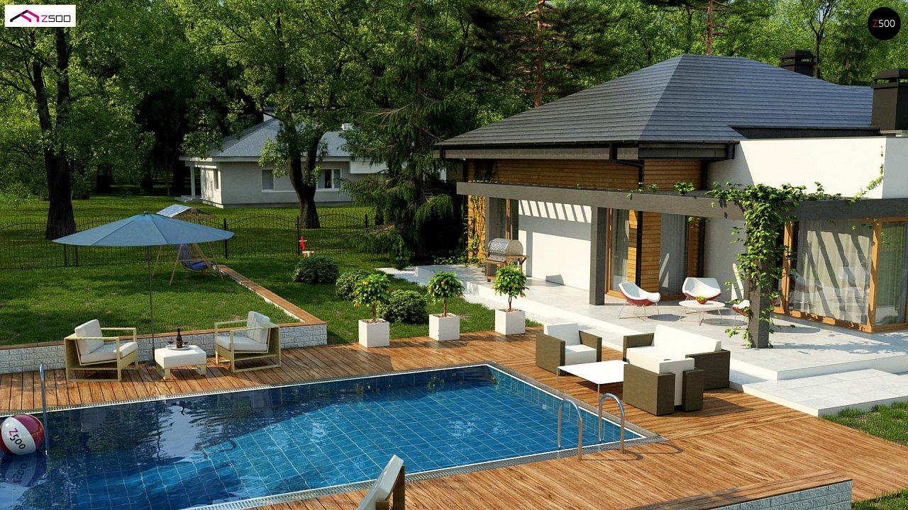 Современный дом с остроконечной крышей бунгало 5