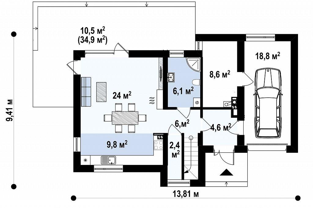 Двухэтажный дом в модернистского дизайна с гаражом и террасой на верхнем этаже. план помещений 1