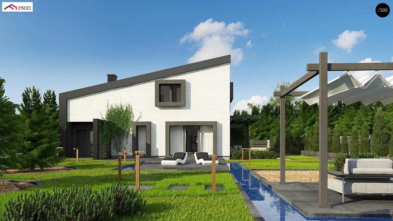 Проект двухэтажного дома с открытой дневной зоной и современным экстерьером. 2