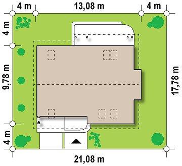 Проект функционального дома с эркером в столовой дополнительной спальней на первом этаже. план помещений 1