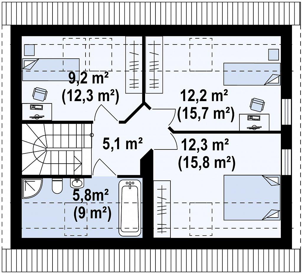 Проект дома в традиционном стиле с двускатной крышей. план помещений 2