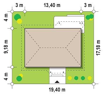Проект одноэтажного классического дома адаптированного для каркасной технологии строительства. план помещений 1
