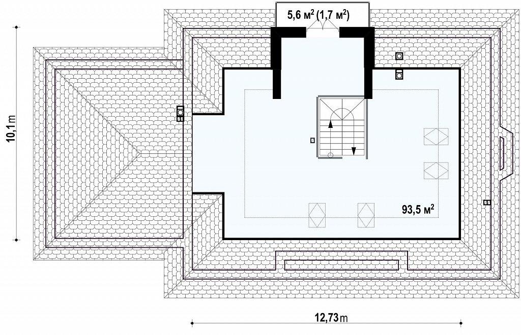 Версия проекта Z10 с гаражом с левой стороны, мансардой и балконом. план помещений 2