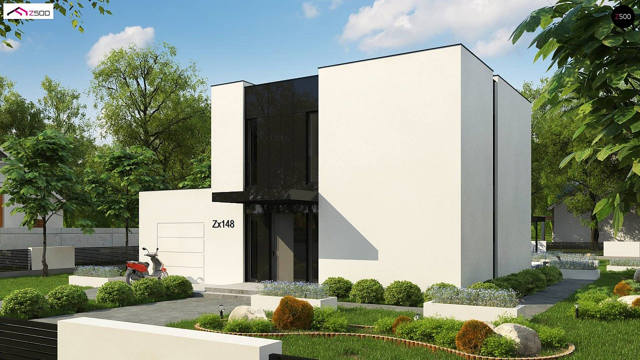 Проект современного односемейного дома с гаражом на одну машину. - фото 1