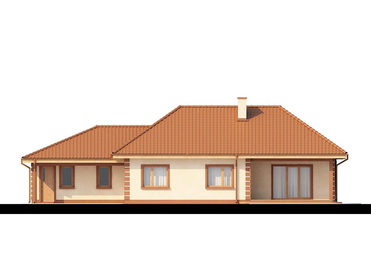 Стильный традиционный одноэтажный дом с гаражом для двух машин. 4