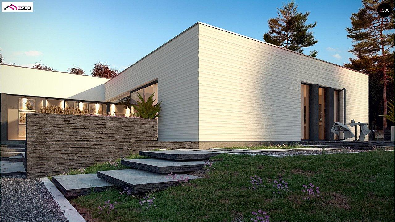 Одноэтажный дом в современном стиле с гаражом на 3 машины, с плоской кровлей 6