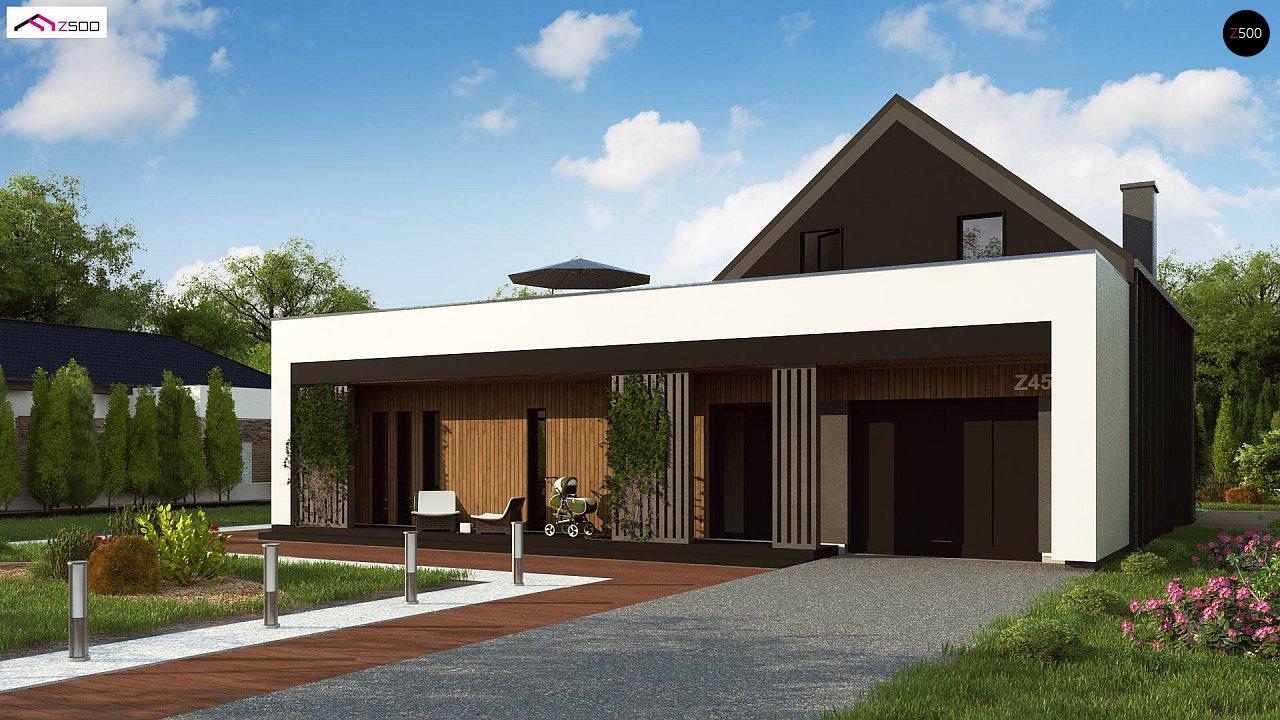 Современный дом с большой террасой и балконом на первом этаже и просторной гостиной - фото 1