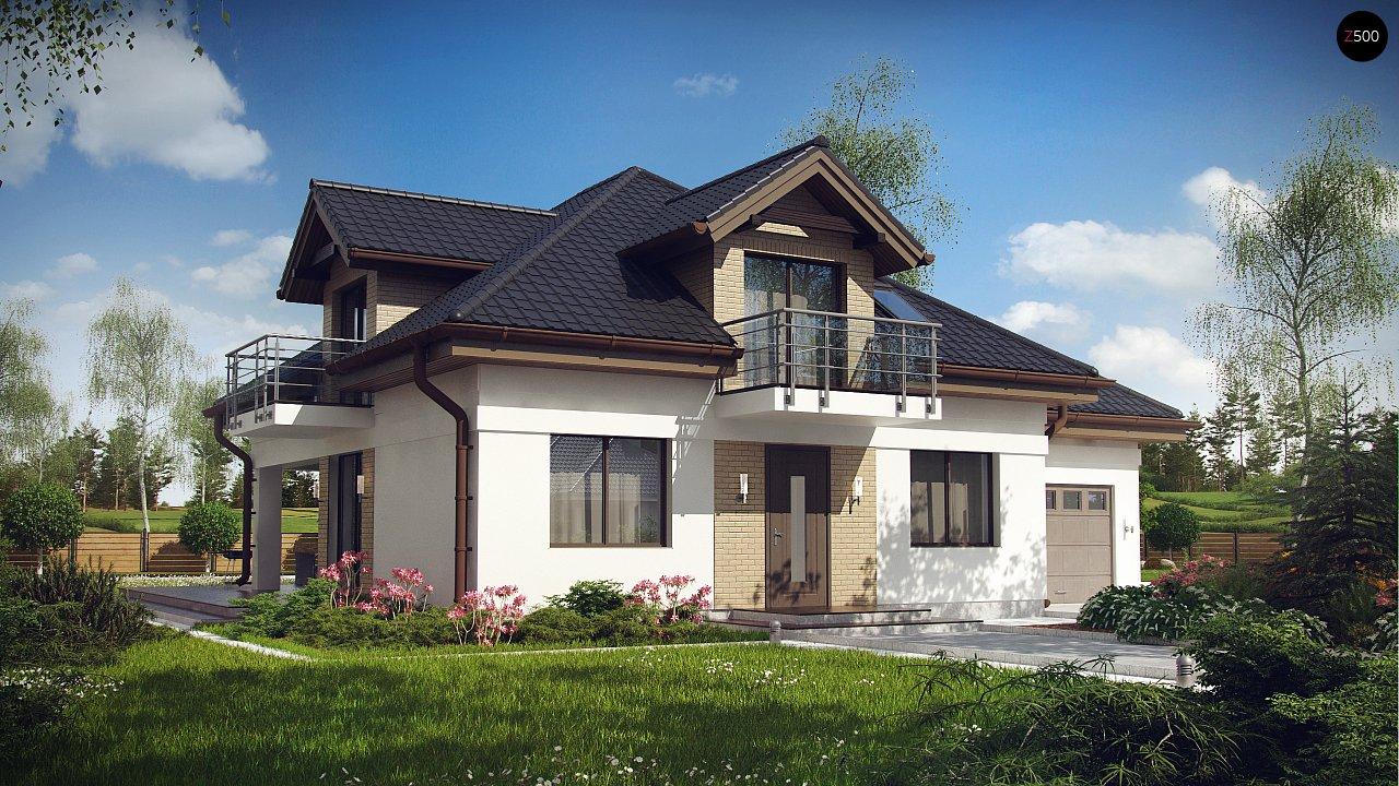 Проект дома с мансардой, с кабинетом на первом этаже и гаражом. 1