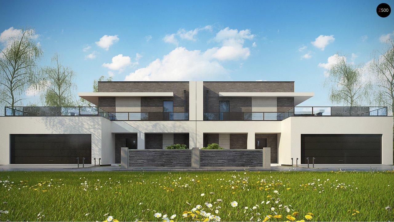 Современный проект домов-близнецов с большим гаражом и террасой на втором этаже. 5