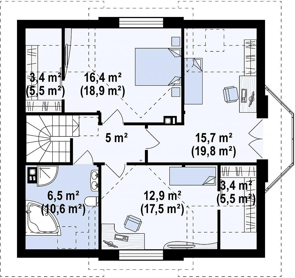 Элегантный дом с мансардой, эркером и балконом над ним. план помещений 2